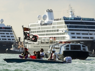 Venetians dress like pirates to protest ships