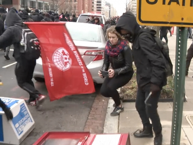 Protesters Smash Windows And Limo At Trump Inauguration