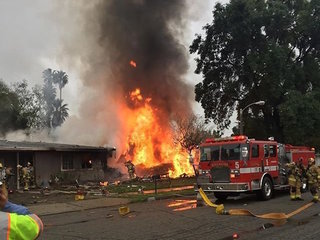 Small plane crashes into homes in California
