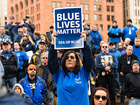 Woman told to remove 'Blue Lives Matter' flag