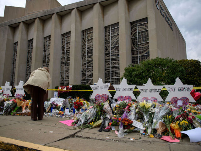 Mourners Visit The Memorial Outside The Tree Of Life Synagogue On October   In Pittsburgh Pennsylvania